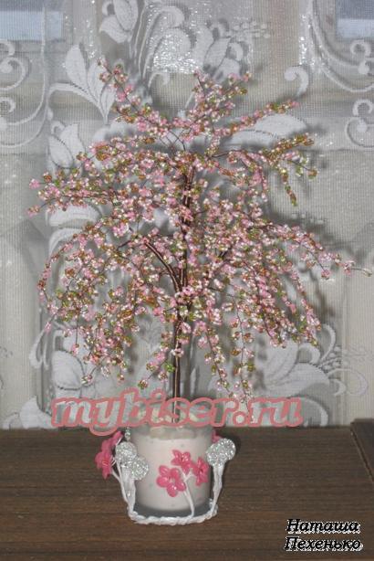 "Царство рукоделия: Дерево из бисера  ""Цветущая яблоня "" ."