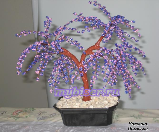 Сиреневое дерево бисер