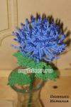 Хризантема синяя из бисера