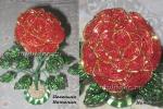 Роза красная с золотом (бисер, рубка)