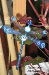 Голубая стрекоза из бисера
